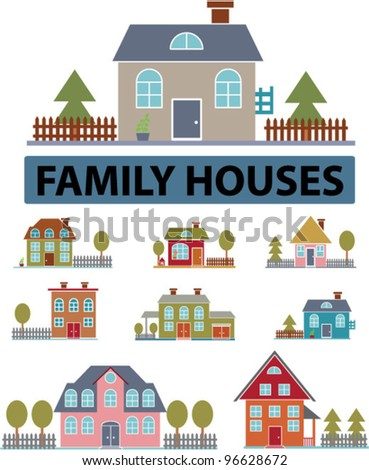 family houses icons set, vector