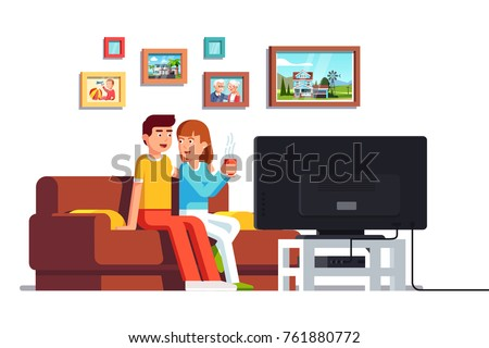 Family husband & wife relaxing together.  Home living room with couch. Flat style vector illustration isolated on white background.