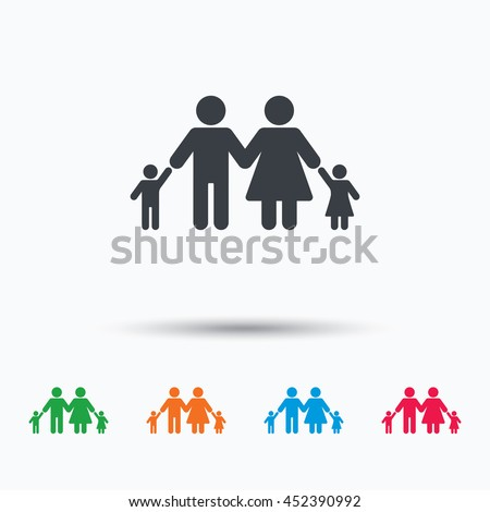Family icon. Father, mother and child symbol. Colored flat web icon on white background. Vector