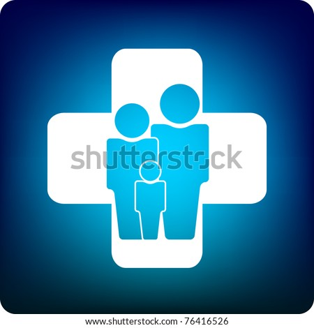 Family icon inside a health care cross - stock vector