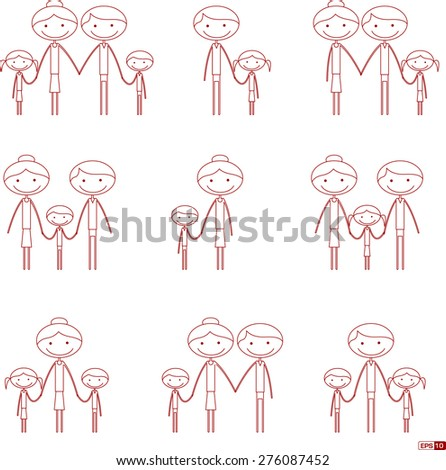 Family Icon Set - Stick Figure Illustration - stock vector