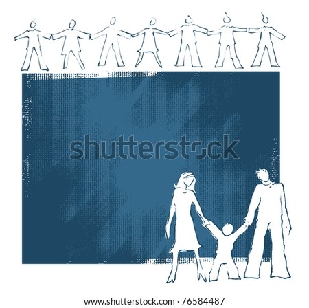 Family icon, united people concept (painterly drawing, blank space for text) - stock vector