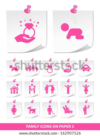 Family Icons on Paper 3. - stock vector