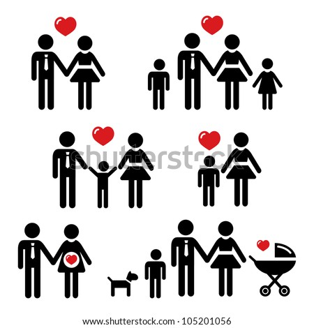 Family icons set - stock vector
