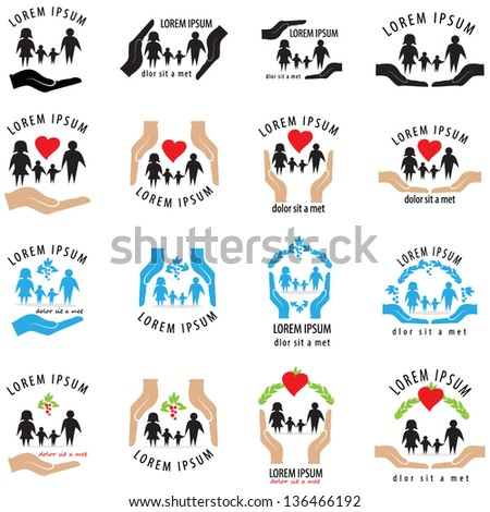 Family Icons - Set - Isolated On White Background - Vector Illustration, Graphic Design Editable For Your Design. Family Logo  - stock vector