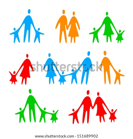 family icons - vector template collection - stock vector