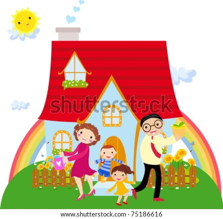 Family in front of their house - stock vector