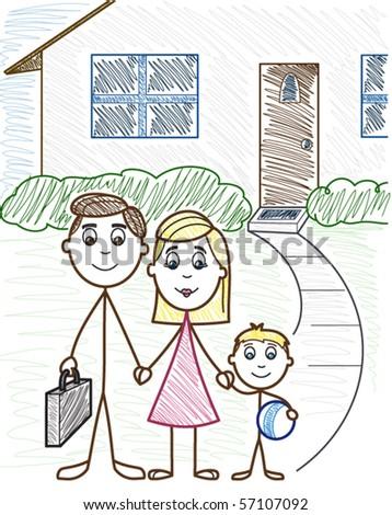 Family in front of their house - vector illustration - stock vector