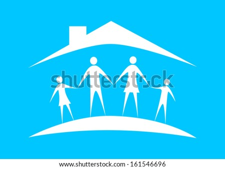 Family in house   - stock vector