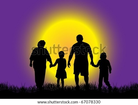 Family in nature - stock vector
