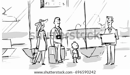 Family In The Airport Going To Vacation Trip Together And A Travel Agent Helping Them