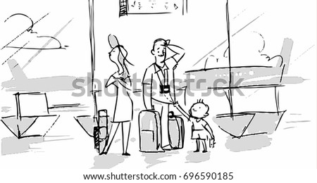 Family In The Airport Going To Vacation Trip Together Vector Illustration