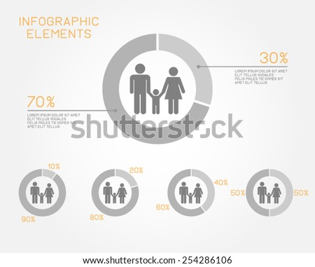 family infographic elements pie chart population people marriage pictogram vector template - stock vector