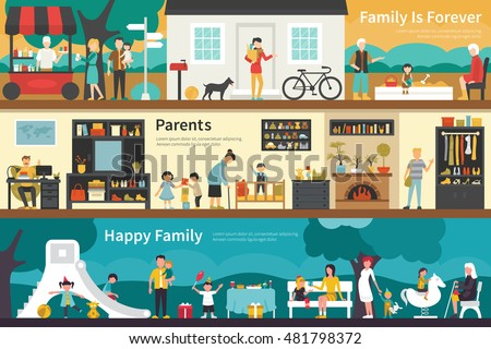 Family Is Forever Parents Happy flat interior outdoor concept web
