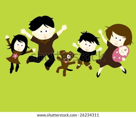 Family Jumping Vector - stock vector