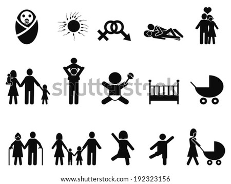 family life icons set - stock vector