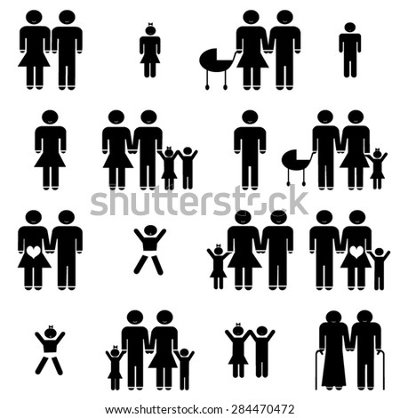 Family life icons set illustration - stock vector