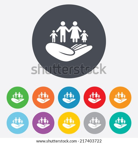Family life insurance sign. Hand holds human group symbol. Health insurance. Round colourful 11 buttons. Vector - stock vector