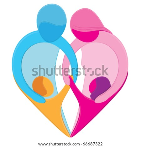 Family Love Heart Sign. Stylized figures of mother, father, son and daughter hold hands together forming a heart shape representing the unique bond, love and care that exists between family members - stock vector