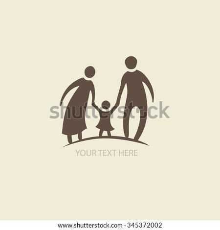 Family love icon. logo for your design - stock vector