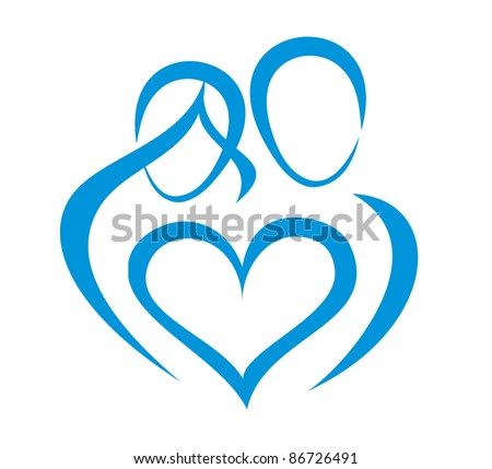 family, love symbol, stylized in simple lines - stock vector