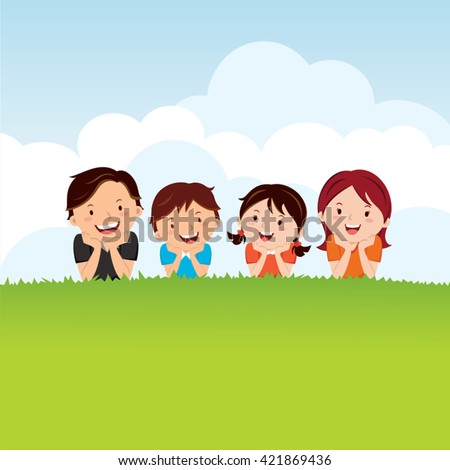 Family lying on the grass. Vector illustration of joyful family having fun outdoors, lying down on green grass to enjoy nature.