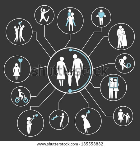 family mind map, info graphics - stock vector