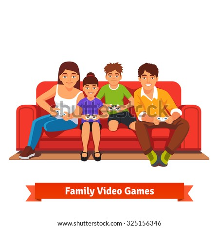 Family, mom, dad, son and daughter playing video games together sitting on a red sofa on day off. Flat style vector illustration isolated on white background. - stock vector