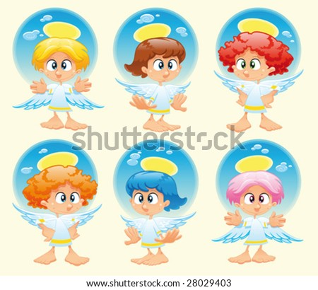 Family of angels with background - stock vector