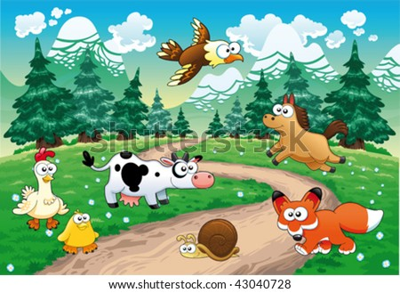 Family of animals with background. Funny cartoon and vector illustration - stock vector