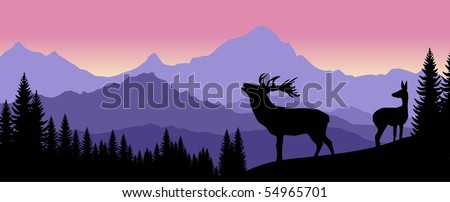 family of deer in mountains - stock vector