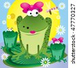 Family of fun cartoon frogs for greetings card, vector illustration - stock vector