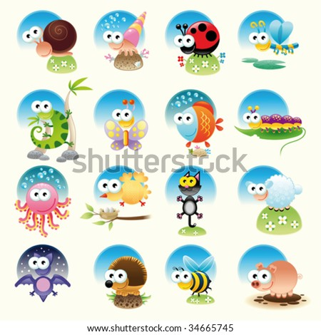 Family of funny animals - stock vector