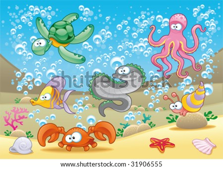 Family of marine animals in the sea. Funny cartoon and vector illustration - stock vector