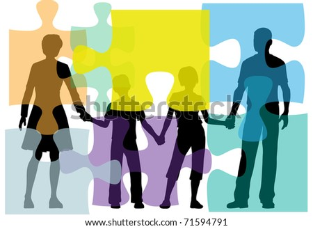 Family of mom dad kids face problems as a puzzle seek counseling - stock vector