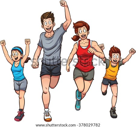 Family of runners. Vector clip art illustration with simple gradients. Each on a separate layer. - stock vector