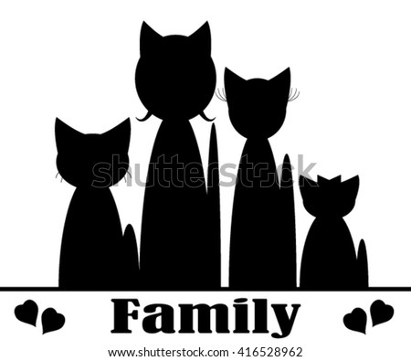 Family of the cats. - stock vector
