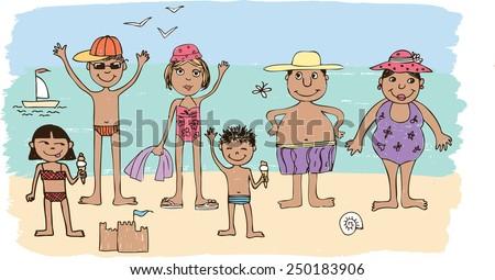 family on a beach - stock vector