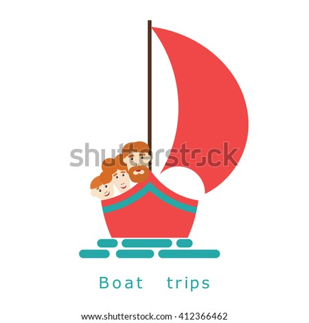 Family on a yacht at sea. Illustration boating family on a white background. Family walking on the sea yachts, boats and ships. Advertising marine tours and travel. Stock vector - stock vector