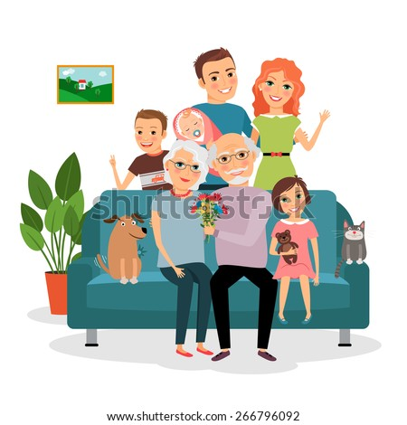 Family on sofa. Father and mother, infant, son and daughter, cat and dog, grandfather and grandmother. Vector illustration - stock vector