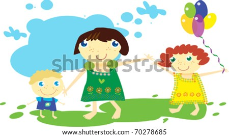 Family on summer walk. Traveling. Vector art-illustration. - stock vector