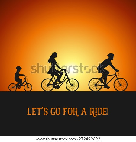 Family on the bicycle trip. Silhouettes on the bicycles. Sunset background. - stock vector