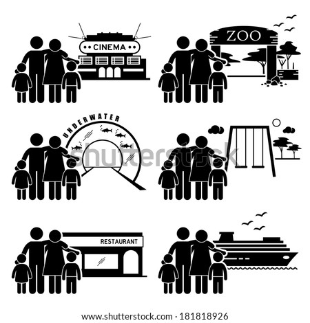 Family Outing Activities - Cinema, Zoo, Underwater Theme Park, Playground, Restaurant Dining, Holiday Cruise Ship - Stick Figure Pictogram Icon Clipart - stock vector