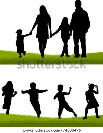 Family - parents and children - stock vector