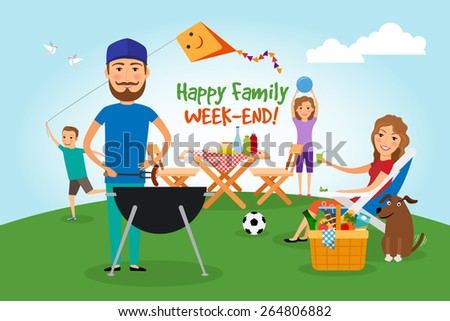 Family picnic. Bbq party. Food and barbeque, summer and grill. Vector illustration - stock vector