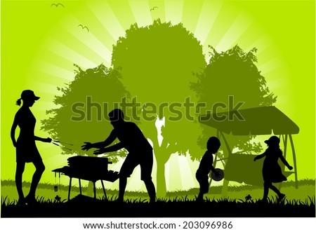 Family picnic in the garden - stock vector
