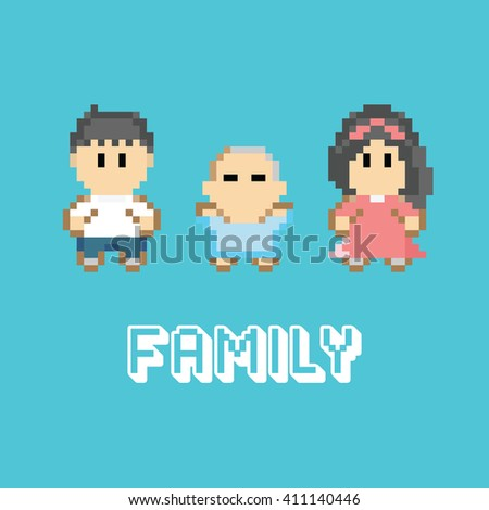 family pixel design, vector 8 bit video game style