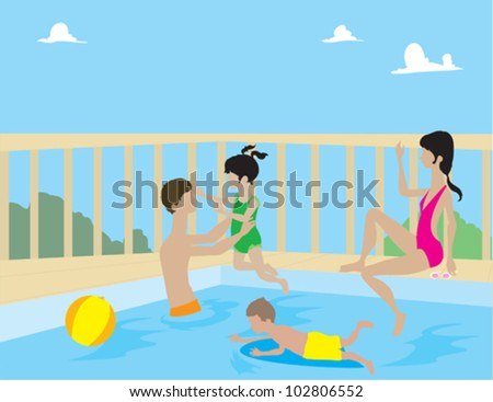 Family Playing in Pool - stock vector