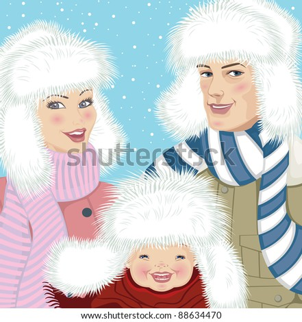 Family portrait outdoors in winter - stock vector