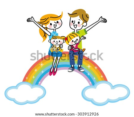 Family rainbow - stock vector